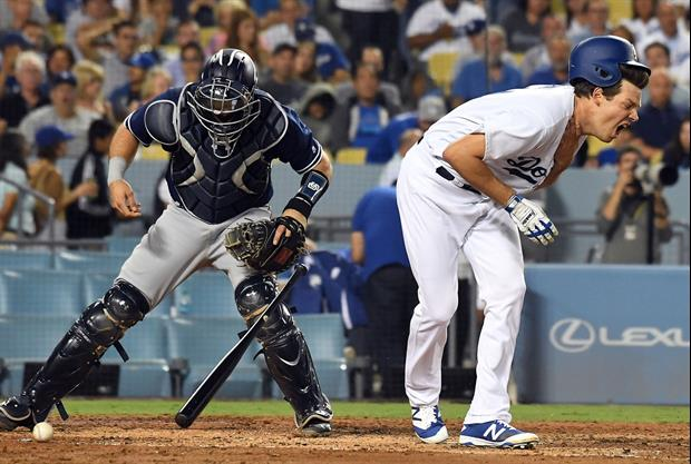 L.A. Dodgers pitcher Rich Hill was hit in the throat with a pitch while trying to lay down a bunt on
